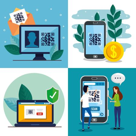 qr code inside smartphone computer laptop woman and man design of technology scan information business price communication barcode digital and data theme Vector illustration Иллюстрация