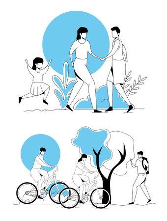 set scenes of people doing activities vector illustration design