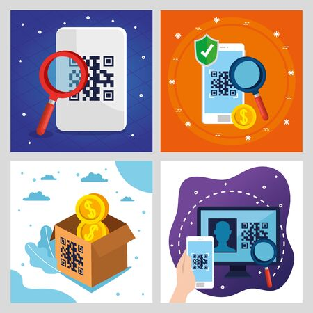 qr code inside smartphones lupe computer and box design of technology scan information business price communication barcode digital and data theme Vector illustration