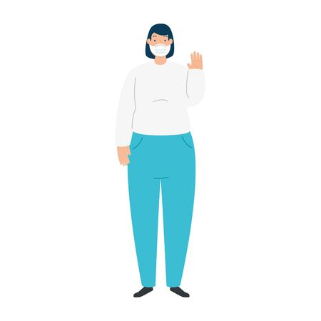 woman using face mask isolated icon vector illustration design  イラスト・ベクター素材