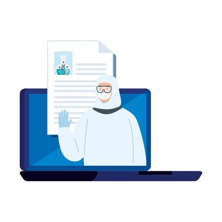 person with biohazard suit protection in laptop vector illustration design