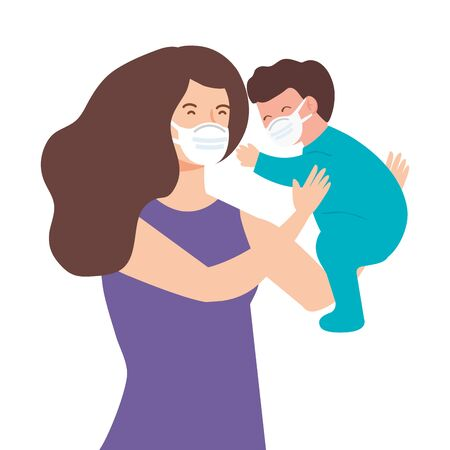 woman with baby boy using face mask vector illustration design