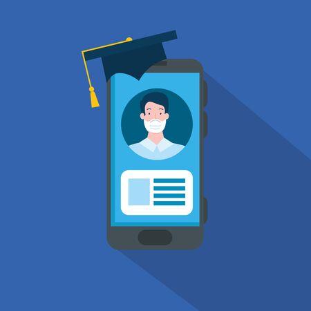 smartphone with online education graduate man vector illustration design
