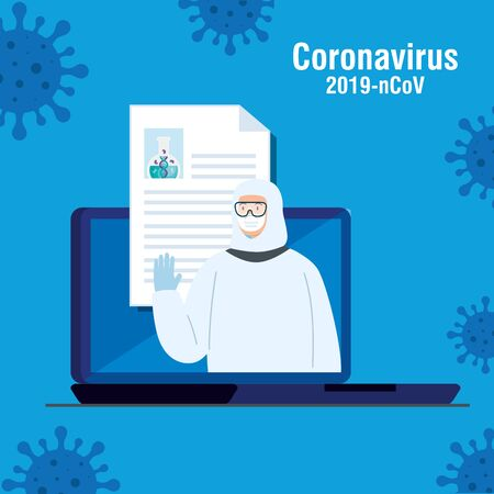 person with biohazard suit protection in laptop and particles 2019 ncov vector illustration design