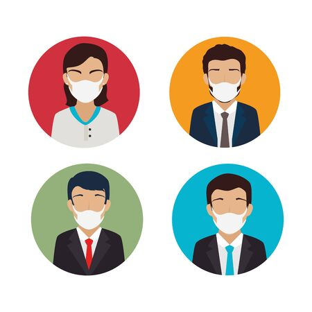 group of business people using face mask vector illustration design Ilustración de vector