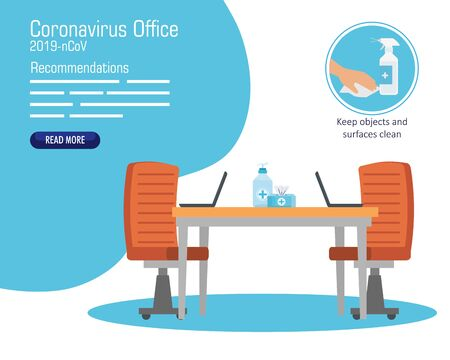 campaign of recommendations of 2019 ncov at office vector illustration design