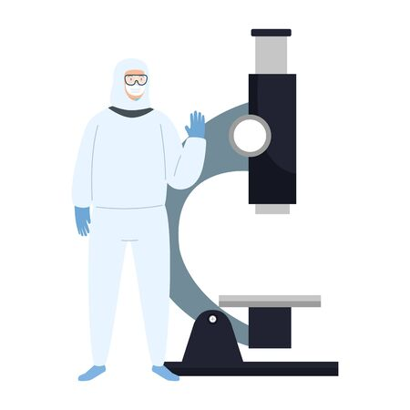 person with biohazard suit protection and microscope vector illustration design Stock Illustratie