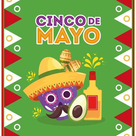 Mexican tequila bottle skull with hat and avocado design, Cinco de mayo mexico culture tourism landmark latin and party theme Vector illustration