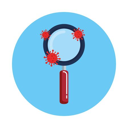magnifying glass with particles covid 19 vector illustration design Иллюстрация