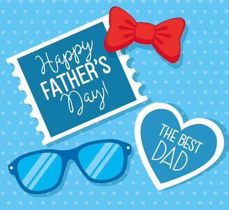 happy fathers day card with eyeglasses and bow tie vector illustration design Ilustrace