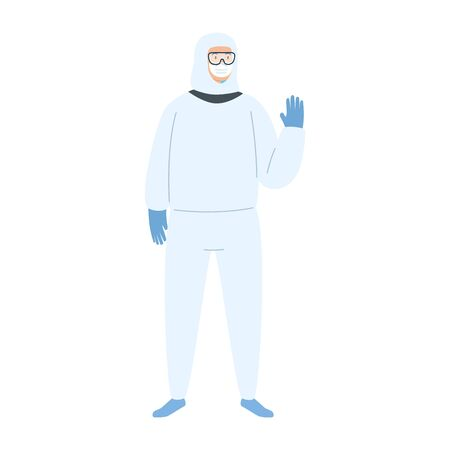 person with biohazard suit protection isolated icon vector illustration design