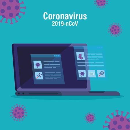 Suche nach 2019 ncov-Informationen online im Laptop-Vektor-Illustrationsdesign