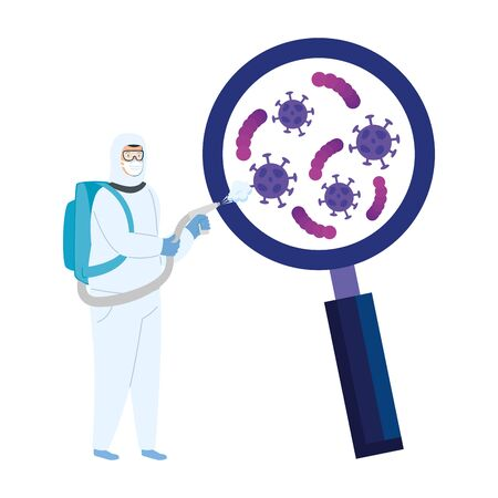 person with biohazard suit protection and magnifying glass vector illustration design Stock Illustratie