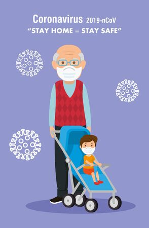 stay at home campaign and grandfather with grandson vector illustration design