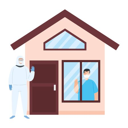 person with biohazard suit and facade house vector illustration design Stock Illustratie