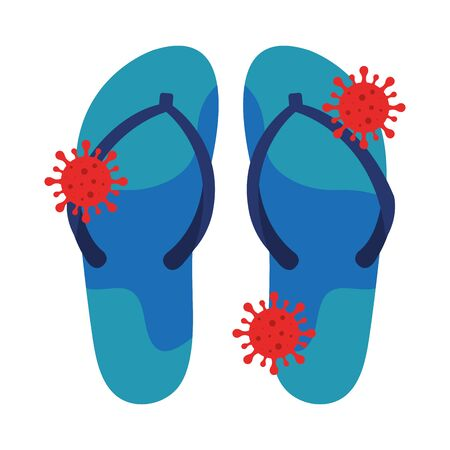 flip flops with particles covid 19 isolated icon vector illustration design