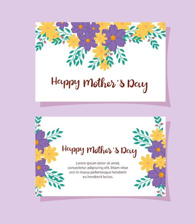 set cards of happy mother day with flowers decoration vector illustration design Ilustrace