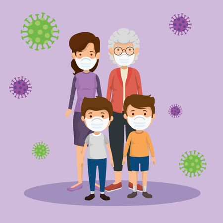 cute family members using face mask with particles 2019 ncov vector illustration design