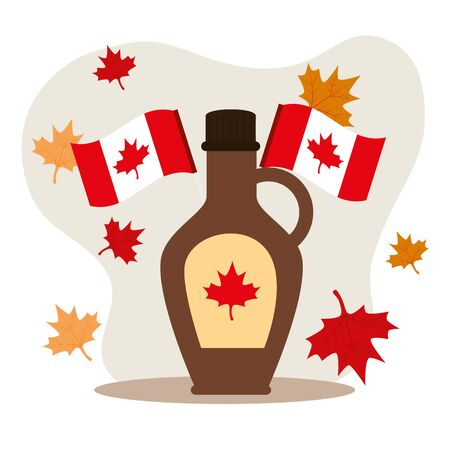 happy canada day with maple syrup and decoration vector illustration design
