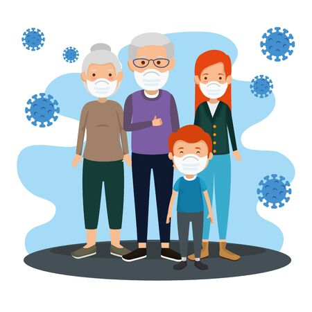 family members using face mask with particles 2019 ncov vector illustration design Иллюстрация