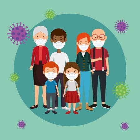 family members group using face mask vector illustration design
