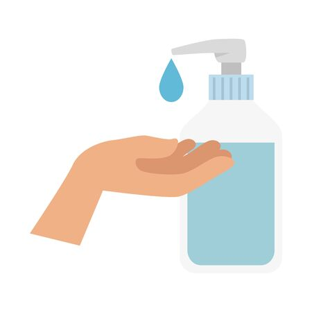 hand with bottle of sanitizer prevention of covid 19 vector illustration design