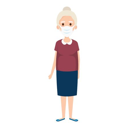 old woman using face mask isolated icon vector illustration design
