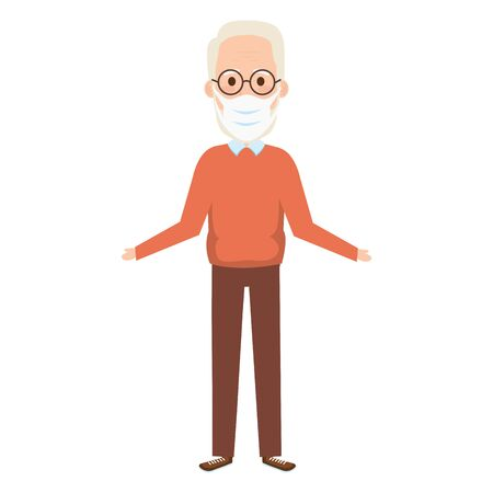 old man using face mask with eyeglasses isolated icon vector illustration design