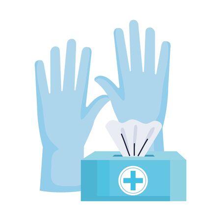 damp cloths pack with rubber gloves vector illustration design