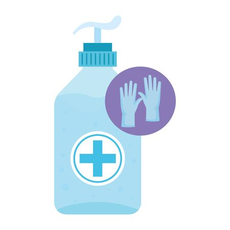 antibacterial soap bottle with rubber gloves vector illustration design