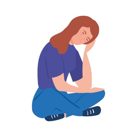 woman sitting with stress attack isolated icon  illustration design