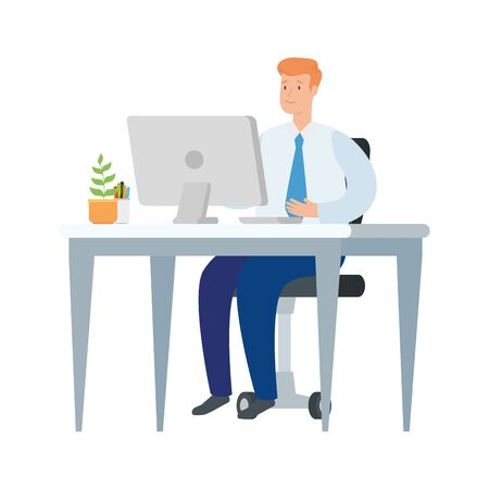 businessman with desk and computer in workplace illustration design