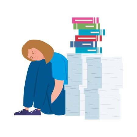 woman sitting with stress attack and stack documents vector illustration design