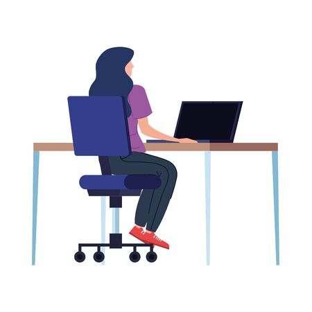 beautiful woman with desk in workplace vector illustration design