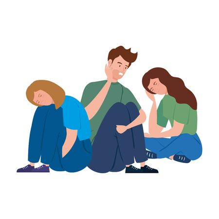 young people sitting with stress attack vector illustration design