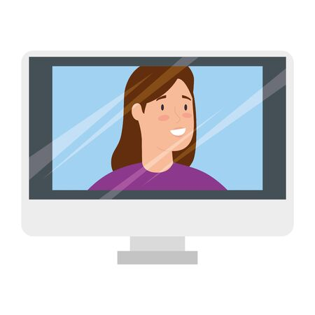 young woman in video conference in computer vector illustration design