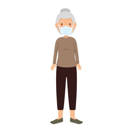 old woman with face mask isolated icon illustration design Иллюстрация
