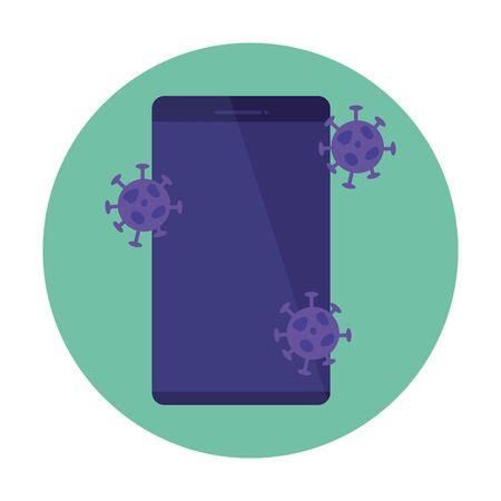 smartphone with particles medicine illustration design