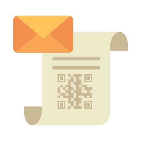 qr code over receipt paper and envelope design of technology scan information business price communication barcode digital and data theme illustration
