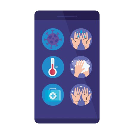 smartphone with particles and set icons illustration design