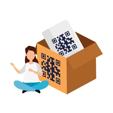 woman and box with qr code isolated icon vector illustration design