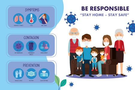 stay at home campaign with family using face mask vector illustration design
