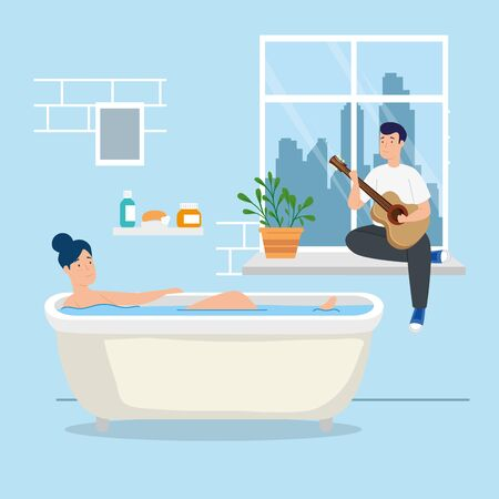 young couple stay at home in bathtub vector illustration design Illustration