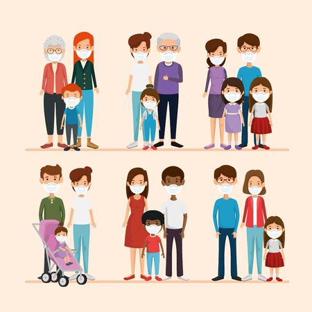 set scenes of families using face mask vector illustration design Иллюстрация