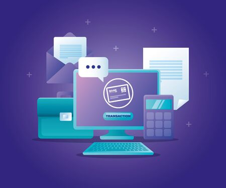 concept of bank online with computer desktop and icons vector illustration design