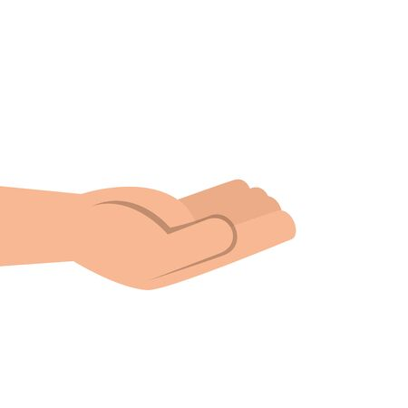 hand receiving human isolated icon vector illustration design
