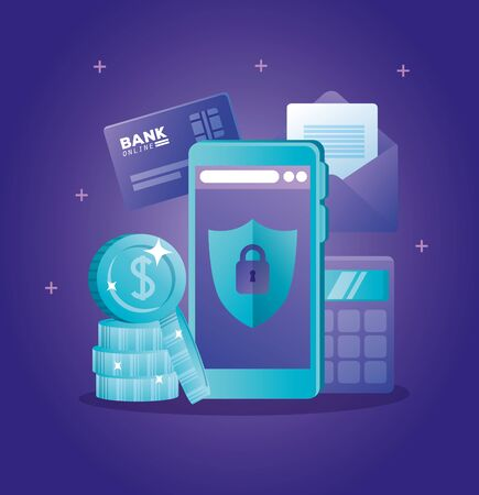 concept of bank online with smartphone and icons vector illustration design Illustration
