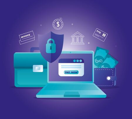 concept of bank online with laptop and icons vector illustration design