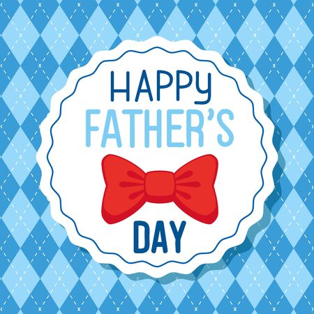 happy fathers day card with bow tie decoration vector illustration design Illustration