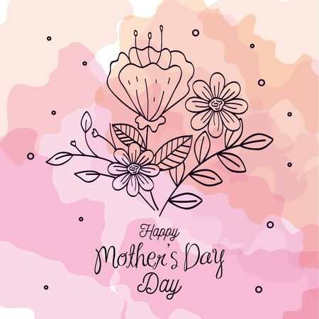 happy mother day card with flowers decoration vector illustration design Фото со стока - 147375361